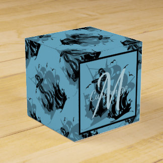 Monogram Pirate Ship & Anchor Cube Favor Box