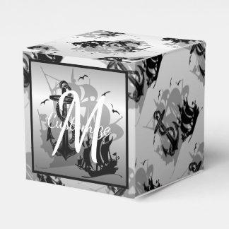 Monogram Pirate Ship & Anchor Cube Favor Box 2