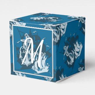Monogram Pirate Ship & Anchor Cube Favor Box 3