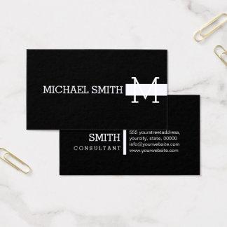 Monogram Plain Black Modern Magnolia Business Card