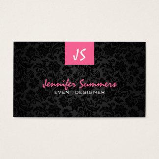 Monogram Plain White & Black Floral Damasks Business Card