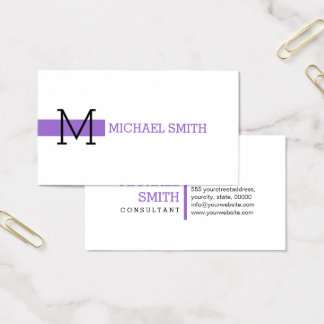 Monogram Plain White Elegant Modern Amethyst #2 Business Card