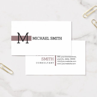 Monogram Plain White Elegant Modern Bazaar Business Card