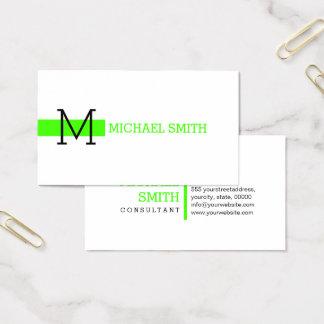 Monogram Plain White Elegant Modern Harlequin #2 Business Card