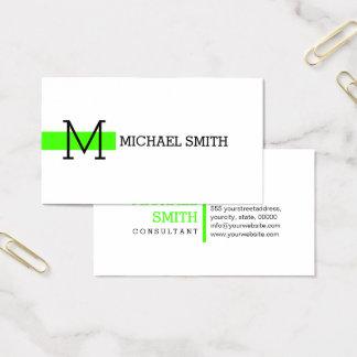 Monogram Plain White Elegant Modern Harlequin Business Card