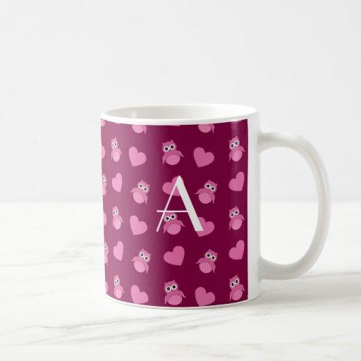 Monogram plum purple owls and hearts coffee mugs