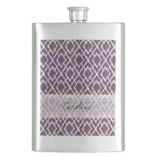Monogram Plum Purple Tribal Ikat Diamond Pattern Flask