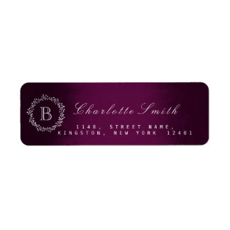 Monogram Plum Return Address Labels