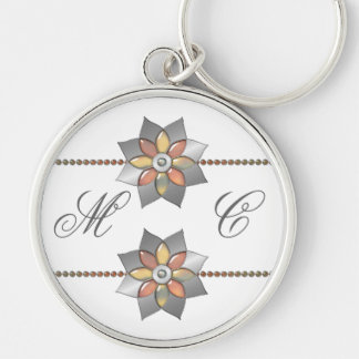 Monogram plus Silver Medallions with Jewels Silver-Colored Round Keychain