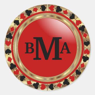 Monogram Poker Designs in Red & Gold Round Sticker