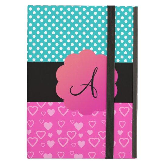 Monogram polka dots and hearts iPad air case