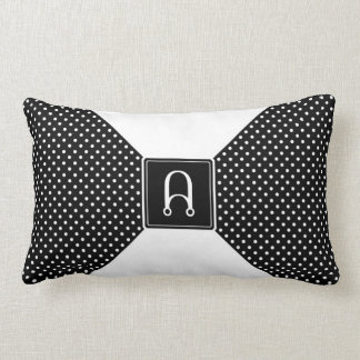 Monogram Polka Dots and White Lumbar Pillow