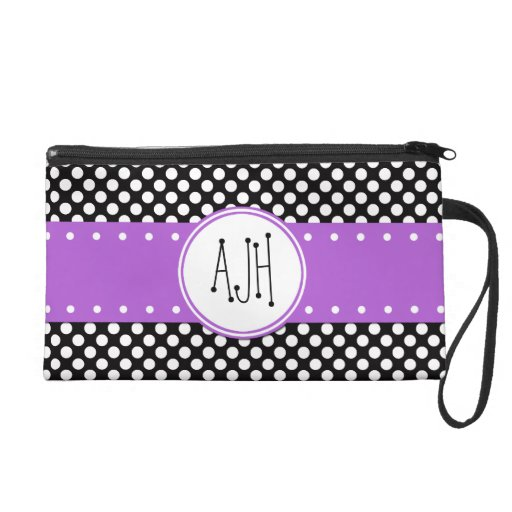 Monogram - Polka Dots, Spots - White Black Purple Wristlet