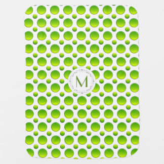 Monogram. Polka green pattern Baby Blanket