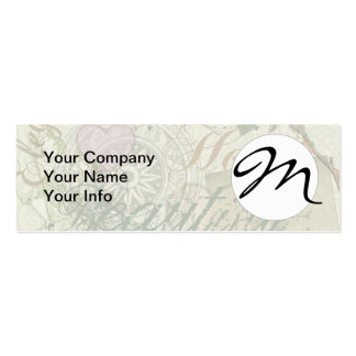 Monogram Pretty Floral Girly Pattern Business Card Templates