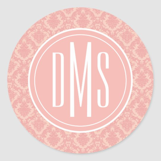 Monogram   Pretty Pink Damask Classic Round Sticker