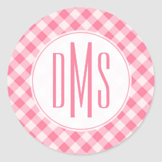 Monogram | Pretty Pink Gingham Round Sticker