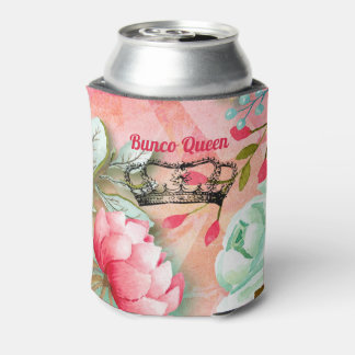 Monogram Pretty Watercolor Pink Bunco Flowers Can Cooler
