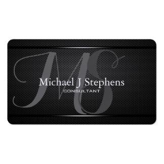 Monogram Professional Black Metal Textured Business Card