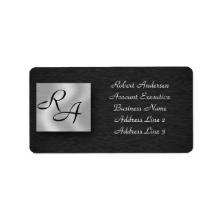 Monogram Professional Black Sliver Address Label