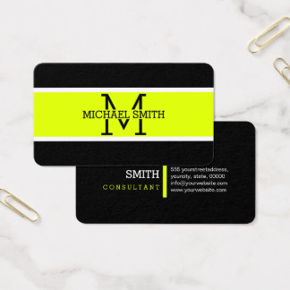 Monogram Professional Chartreuse Modern Business Card