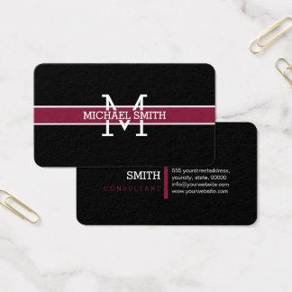 Monogram Professional Claret Horizontal Line Business Card