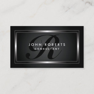 Modern business cards printing zazzle ca monogram professional elegant modern black business card reheart Choice Image