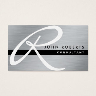Monogram Professional Elegant Modern Silver Metal Business Card