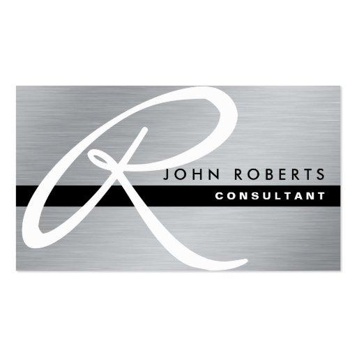 Monogram Professional Elegant Modern Silver Metal Business Card Templates