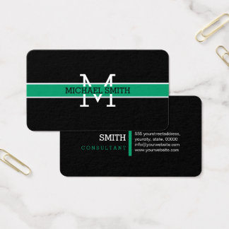 Monogram Professional Green-cyan Horizontal Line Business Card