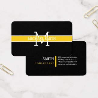 Monogram Professional Jonquil Horizontal Line Business Card