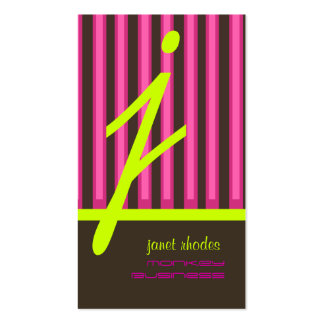 Monogram psychedelic colors/chocolate stripes business card templates