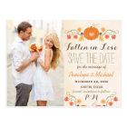 Monogram Pumpkin Fall Wedding Save the Date Postcard
