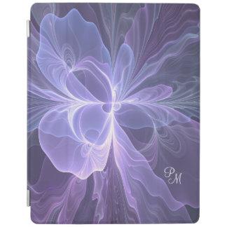 Monogram Purple Abstract Modern Fractal iPad Cover
