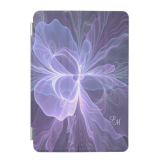 Monogram Purple Abstract Modern Fractal iPad Mini Cover