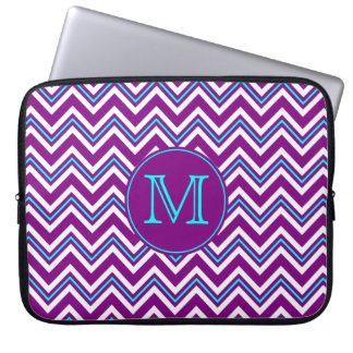 Monogram Purple and Aqua Chevron Laptop Sleeve