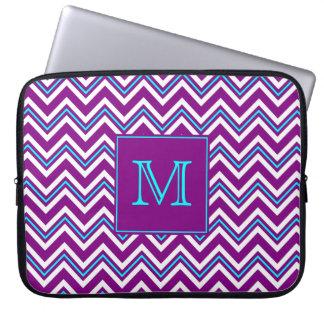 Monogram Purple and Aqua Chevron Laptop Sleeve