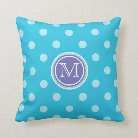 Monogram: Purple and Blue Polkadot Print Pillow