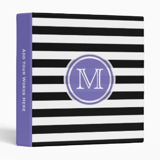 Monogram: Purple Black And White Striped Binder