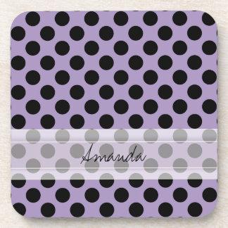 Monogram Purple Black Cute Chic Polka Dot Pattern Coaster