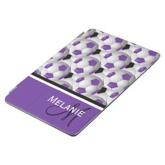 Monogram Purple Black Soccer Ball Pattern iPad Air Cover
