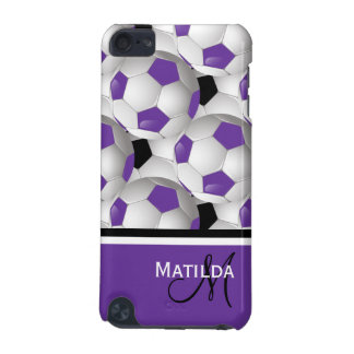 Monogram Purple Black Soccer Ball Pattern iPod Touch 5G Covers