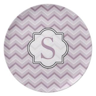 Monogram Purple Chevron Plate