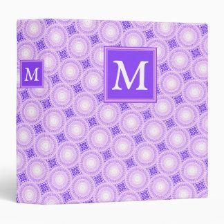 Monogram purple circles pattern 3 ring binder