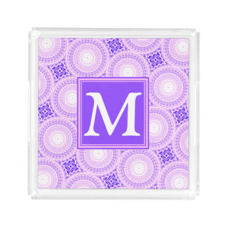 Monogram purple circles pattern acrylic tray