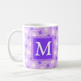 Monogram purple circles pattern coffee mug