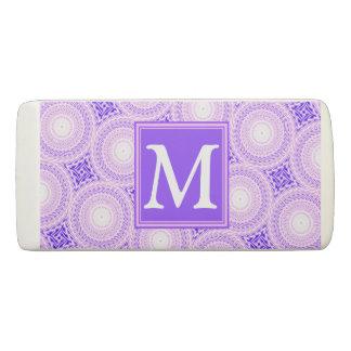 Monogram purple circles pattern eraser