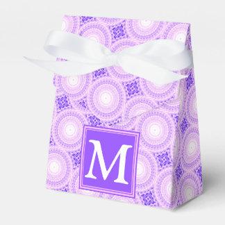 Monogram purple circles pattern favor box