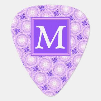 Monogram purple circles pattern guitar pick