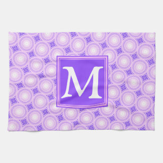Monogram purple circles pattern kitchen towel
